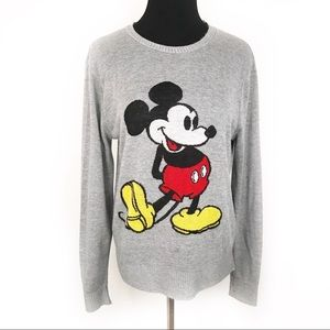 DISNEY | Gray Mickey Mouse Knit Crewneck Sweater